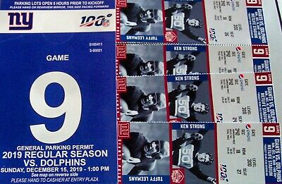 4 Tickets On Aisle- New York Giants/ Miami Dolphins - Row 18 Sec 342 + Park Pass