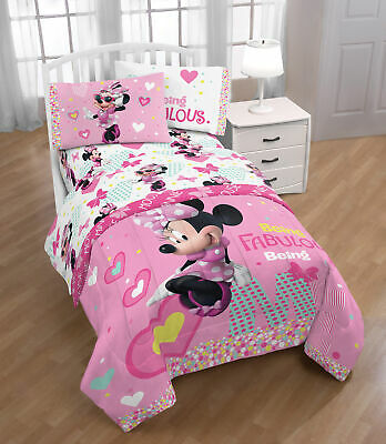 Disney Minnie Mouse Kid's Bedding Twin bed flat fitted Sheet Set, 3 pcs