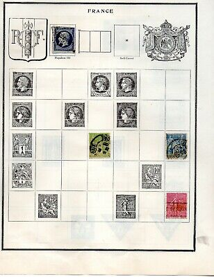 France & French Colonies (30) stamps mint & Used 5 pages from an old scott album