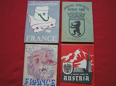 447. Four Post war (late 40's-early 50's) Pocket guides to European Countries &