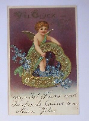 """"""" New Year,Angel,Heart,Flowers,Forget-Me-Not """" 1908,Embossed Postcard (52807)"""