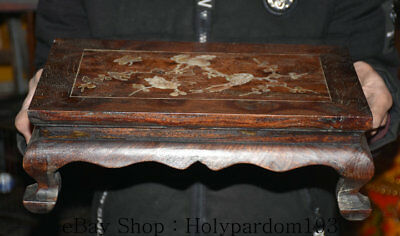 """14.4"""" Old China Huanghuali Wood Inlay Shell Dynasty Flower Bird Tea table Desk"""