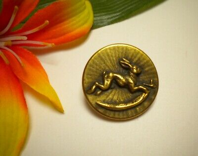 Antique French Rabbit Jumping Over Moon Brass Metal Picture Button ~ Paris Bkmk