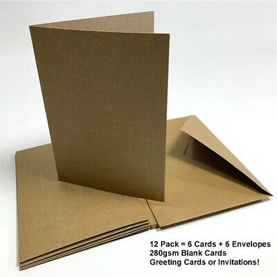 New! Kraft Blank Cards & Envelopes Greetings Wedding Party Birthday Invitations