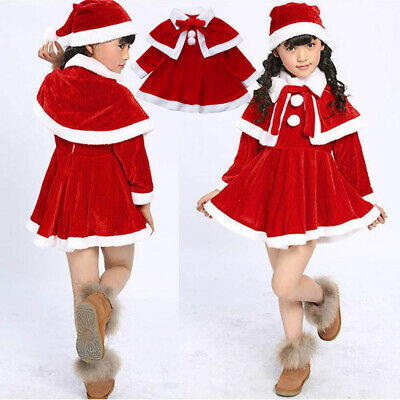 Kids Baby Girls Christmas Wool Costume Party Dress+Shawl+Hat Cap Outfits Cloth