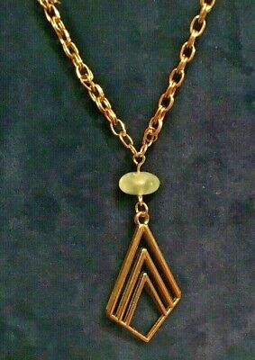"""25"""" Gold filled necklace Smoky Quartz, Chrysoprase over a gold plated triangle"""