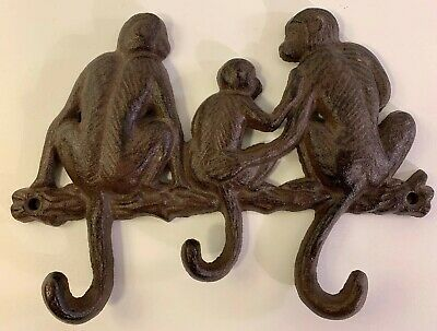 Cast Iron Monkey Family Wall Hooks for Key Rack Holder Coats Or Leash Home Decor
