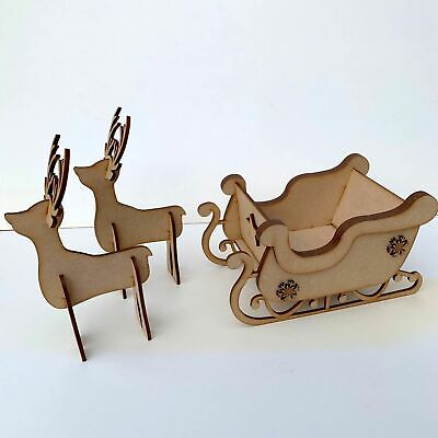 MDF Wooden Christmas Freestanding Santa's Sleigh with Reindeer 2 Sizes Available