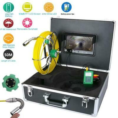 50M Pipe Inspection 1000 TVL Video Camera LED Waterproof Drain Pipe Sewer 9''LCD
