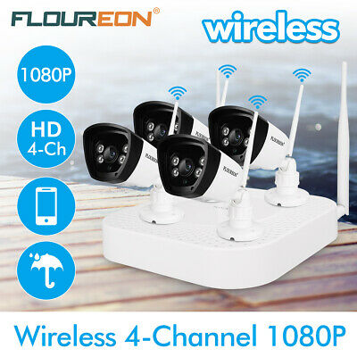 FLOUREON 2.4GHz 4CH Wireless WLAN CCTV 1080P DVR Kit WiFi IP Camera NVR IR-CUT