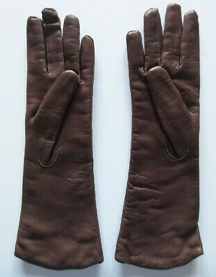 """Vintage Women's Brown Italian Leather Gloves Size 6 1/2 Length 12 1/4"""""""
