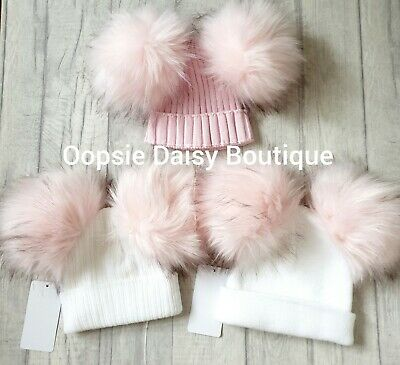 Girls Lovely Knitted Large Pom Pom Hats Size 0/1yr & 1/3yrs ⭐