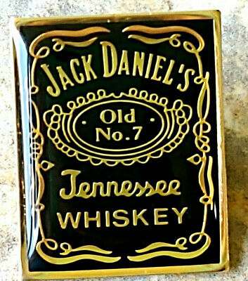 Jack Daniels Old No 7 Tennessee Whiskey Hat Lapel Pin Black Gold Advertisement