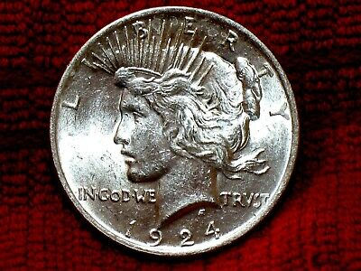 1924 P Peace Silver Dollar GEM Brilliant Uncirculated Vintage BU Coin #40