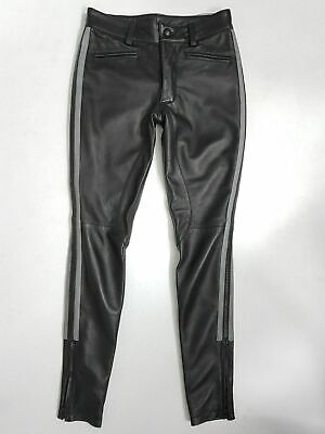 New Genuine Leather Breeches Police Pants Trouser Uniform Pant Black With Grey
