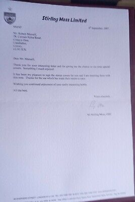 Motor Racing F1 - Stirling Moss Signed Letter & Photograph