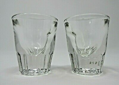 Vintage Super Heavy Thick Walled Glass Federal Whiskey Shot Glasses Pair