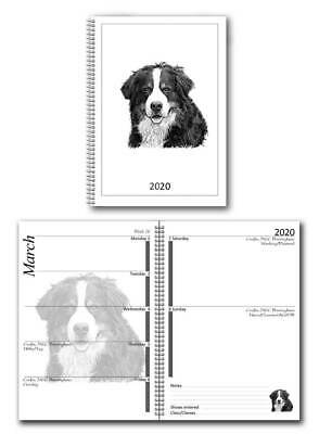 Bernese Mountain Dog Small 2020 dog show diary with show dates A6 pocket size