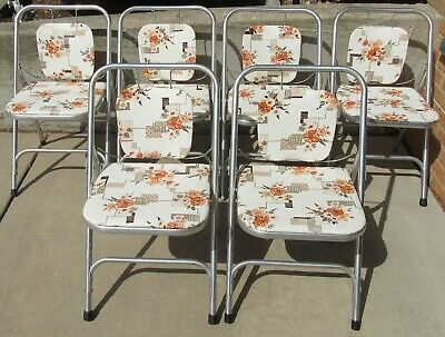 6 Vintage Mid-Century Modern Aluminum Folding chairs by Shott (PICK-UP ONLY)