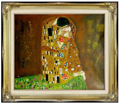 Framed Quality Hand Painted Oil Painting Repro Gustav Klimt the Kiss, 20x24in