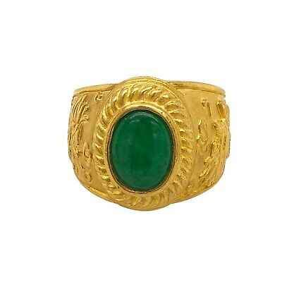 Chinese Unisex 24K Gold Jade Ring With Dragons