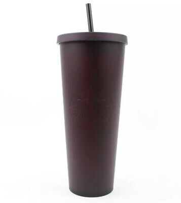 NEW STARBUCKS TUMBLER VENTI Matte Black Color Changing Maroon Cup Cold Limited