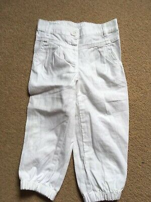 Girls, Next, White, Cotton, Cuffed, Trousers. Age 4-5yrs  NEW
