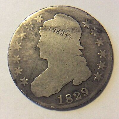1829 Capped Bust Half Dollar  L-144  Free Shipping