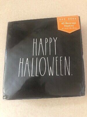 NEW Rae Dunn Happy Halloween Black Beverage Napkins 40 pack