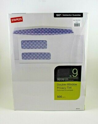 STAPLES No. 9 DOUBLE WINDOW PRIVACY TINT ENVELOPES   500 QTY