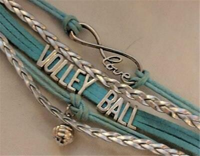 Leather & Silver Tone Volleyball Bracelet Girl's Women's Sports Team Colors Love