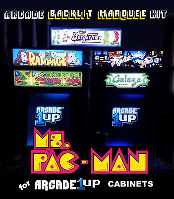 Arcade1up Ms. Pac-Man Backlit Marquee Kit for Arcade1up Cabinets - Blue