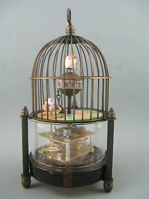 superb old china handwork glass copper bird cage shape mechanical desktop clock