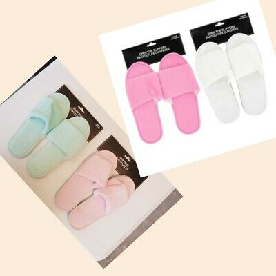 Ladies Open Toe Slippers - Pink, White, Green - S, M, L, XL - Polyester