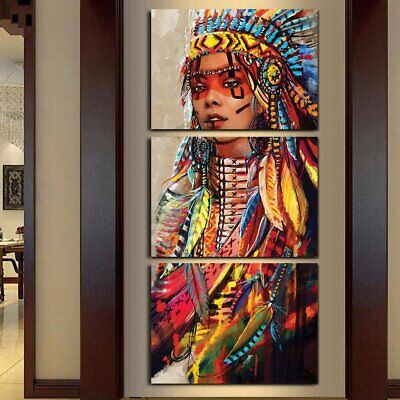 Native American Girl Feathered Indian Women Canvas Prints Painting Wall Art 3PCS