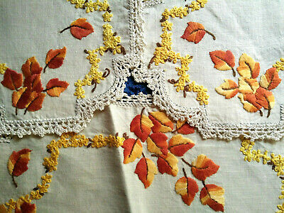Gorgeous 3 Piece Autumnal/Fall Leaves - Vintage Hand Embroidered Duchess Set