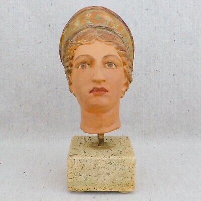 Antique Vintage Hand Painted Pottery Bust Greek Mythical Goddess Queen Athena