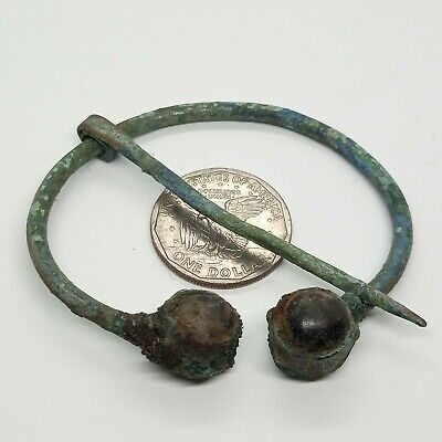 Bronze Art Large Fibula Omega / Glass 70mm. 500-1000AD. Viking Brooch