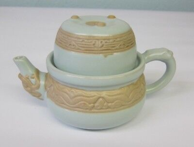 Oriental Chinese Porcelain Dragon Mouth Tea For One Tea Pot Cup Ru-ware Boxed