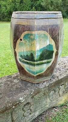 Antique Tole Folk Art Hand Painted Octagon Wood Barrel Nail Keg General Store