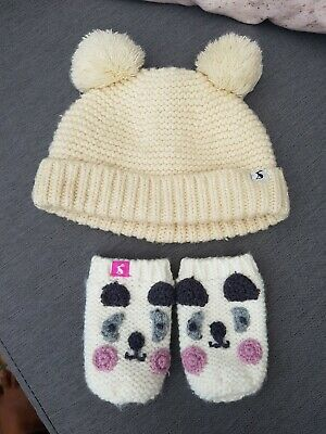🌈🌺🐶 Joules Double Bobble Hat & Animal Mittens Set 1-2Y **Free Shipping **