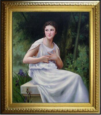 Framed Quality Hand Painted Oil Painting, Repro Bouguereau Reflection, 20x24in