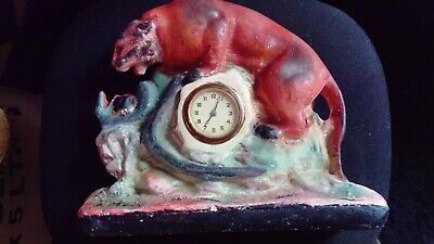 Vintage Alabaster Puma and Snake Fighting figurine with mechanical clock