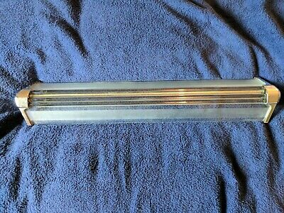 Vintage Deco Industrial Mid Century Medicine Cabinet Glass Light Shade Chrome