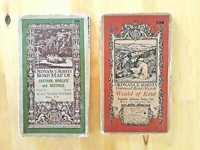 KENT - two Ordnance Survey road maps from the 1920s