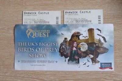 2 X Warwick Castle TICKETS - FRIDAY 04 Oct 2019 Adults or Kids 04/10/19