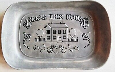 Wilton Armetale Serving Tray Pewter Bless This House Bread / Platter Religious
