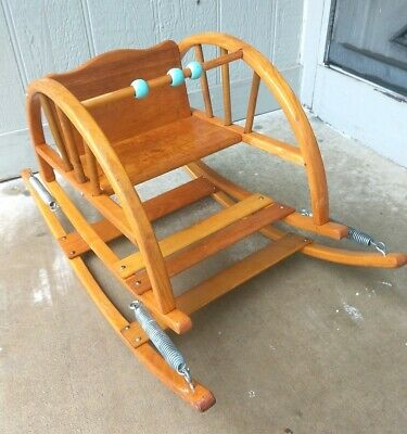 Antique Original DELPHOS Arched Shooflys Wooden Baby Teeter Tot Rocker Chair