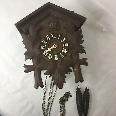 Vintage Black Forest Original Schatz 8 Day Cuckoo Clock Wooden Germany Movement