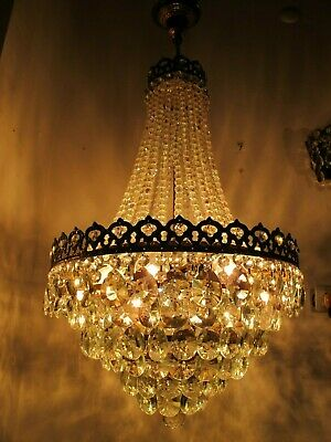 Antique Vnt French Huge Crystal Chandelier Lamp Lustre 1940's 18in Diamater Rare